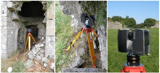 Laser scanning equipment at a castle