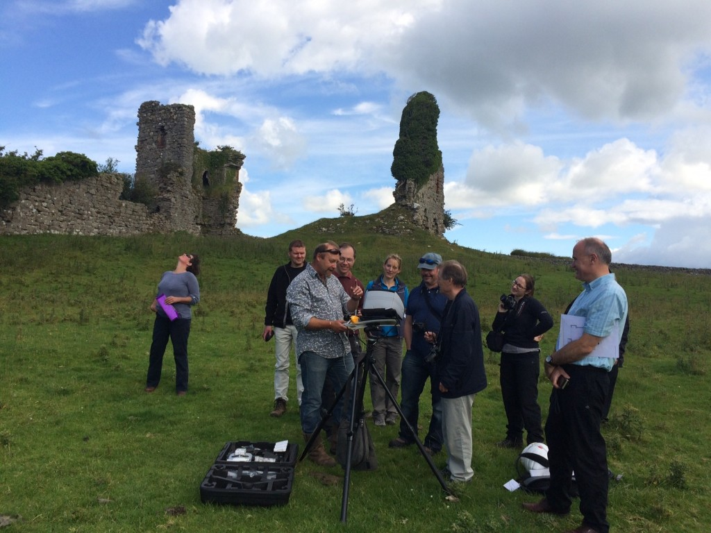 Adam from Aerial-cam demonstrating to Trustee's and supporters of the Castle Studies Trust how the RPA captures the images from the air