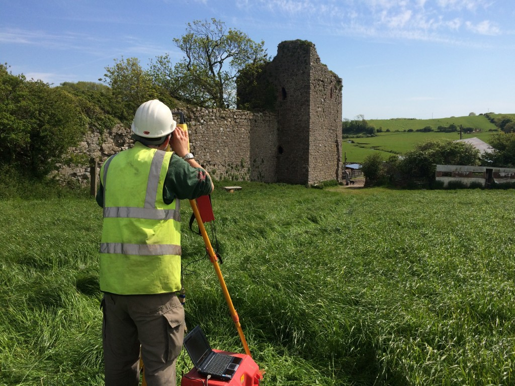 Dan Ellsworth from Greenlane Archaeology undertaking the topographic survey of the south-east tower