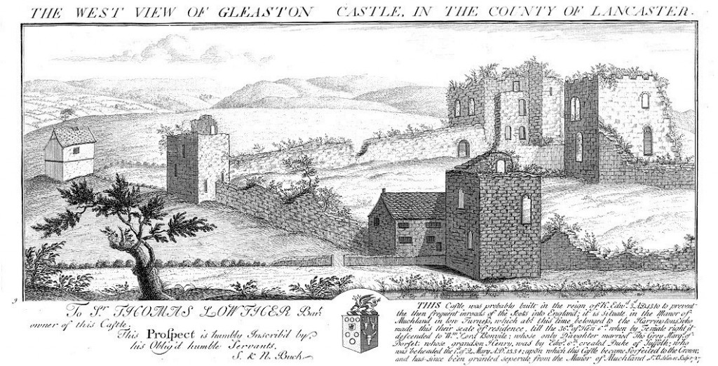 Engraving of Gleaston Castle by Samuel and Nathanial Buck, 1727 showing the site in a ruinous state